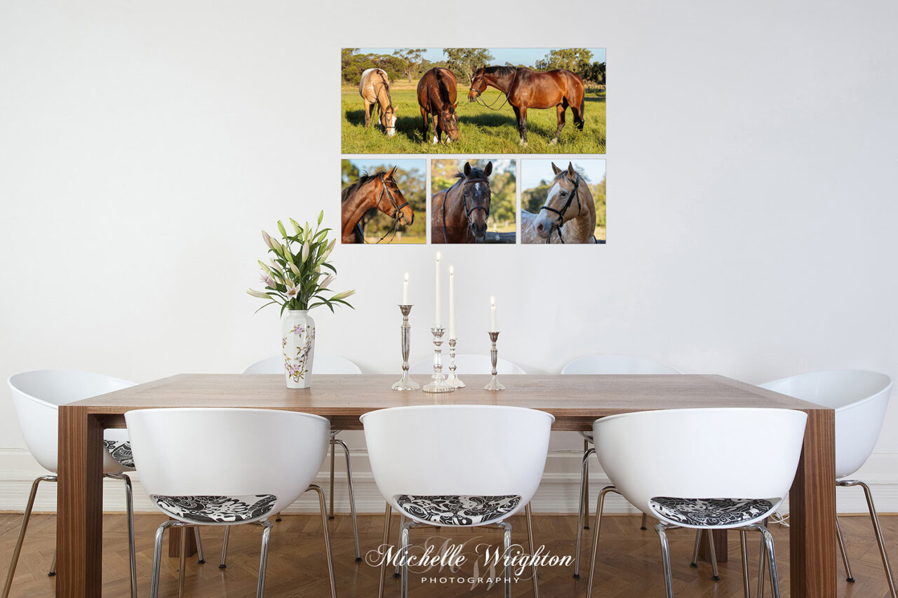 Horse photography fine art prints four piece dining room decor