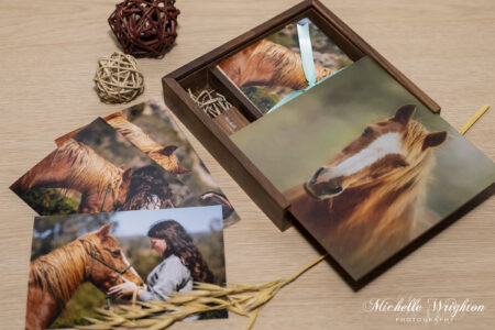 Wood keepsake box of horse and pony photographs