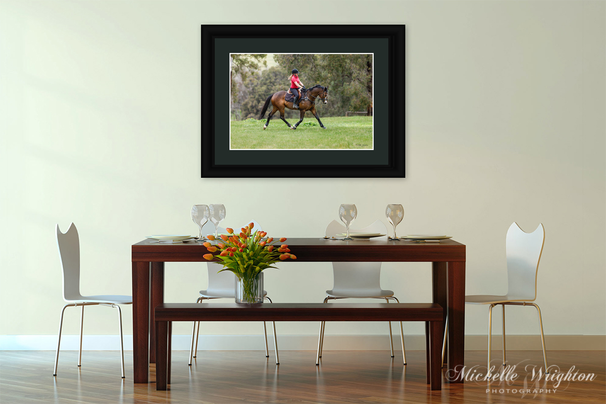 Framed bay horse and girl rider photograph dining room decor ideas