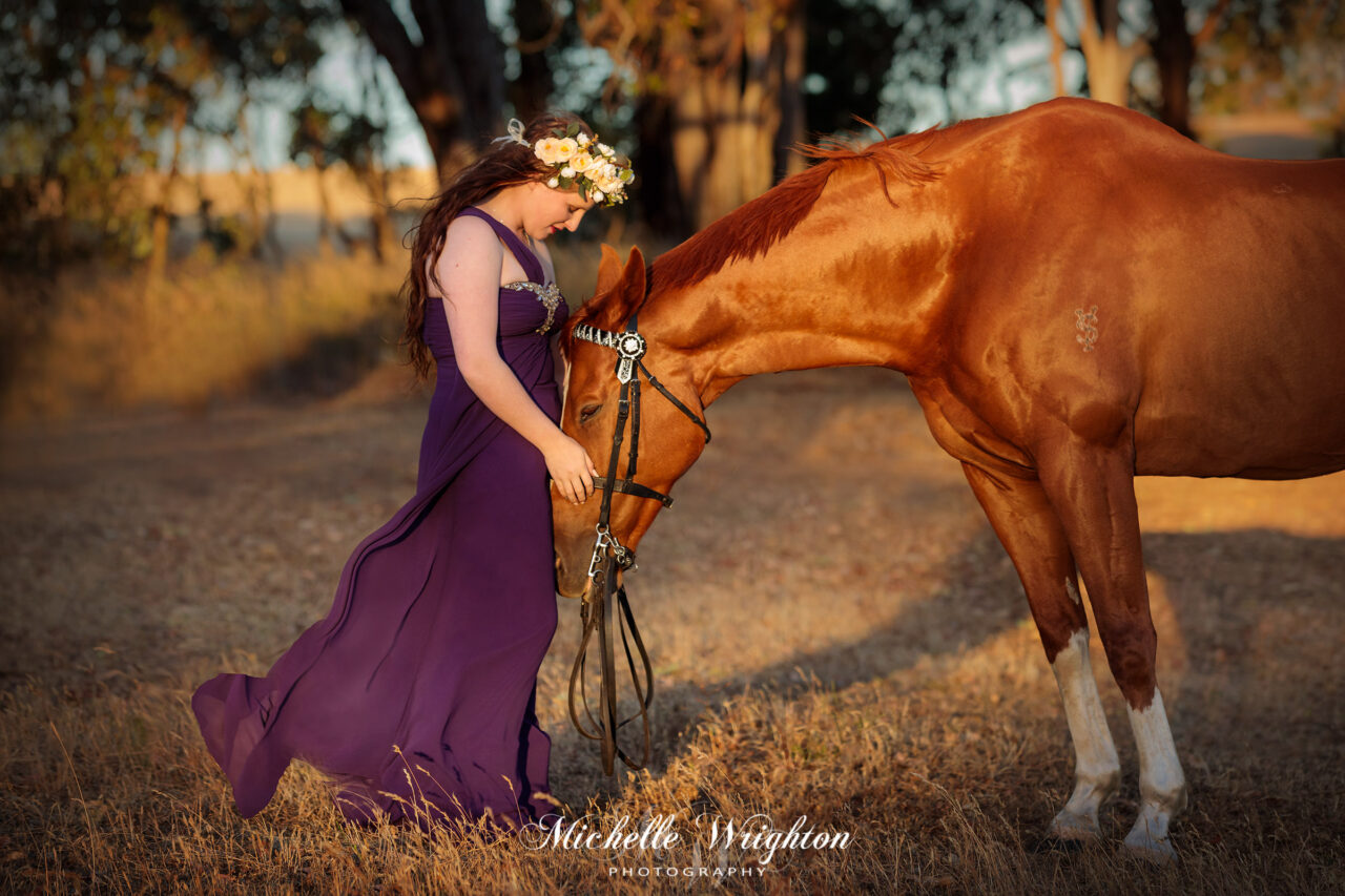 Elegant Chestnut Horse and Girl wearing formal Ball gown by Bunbury horse photographer Michelle Wrighton Photography