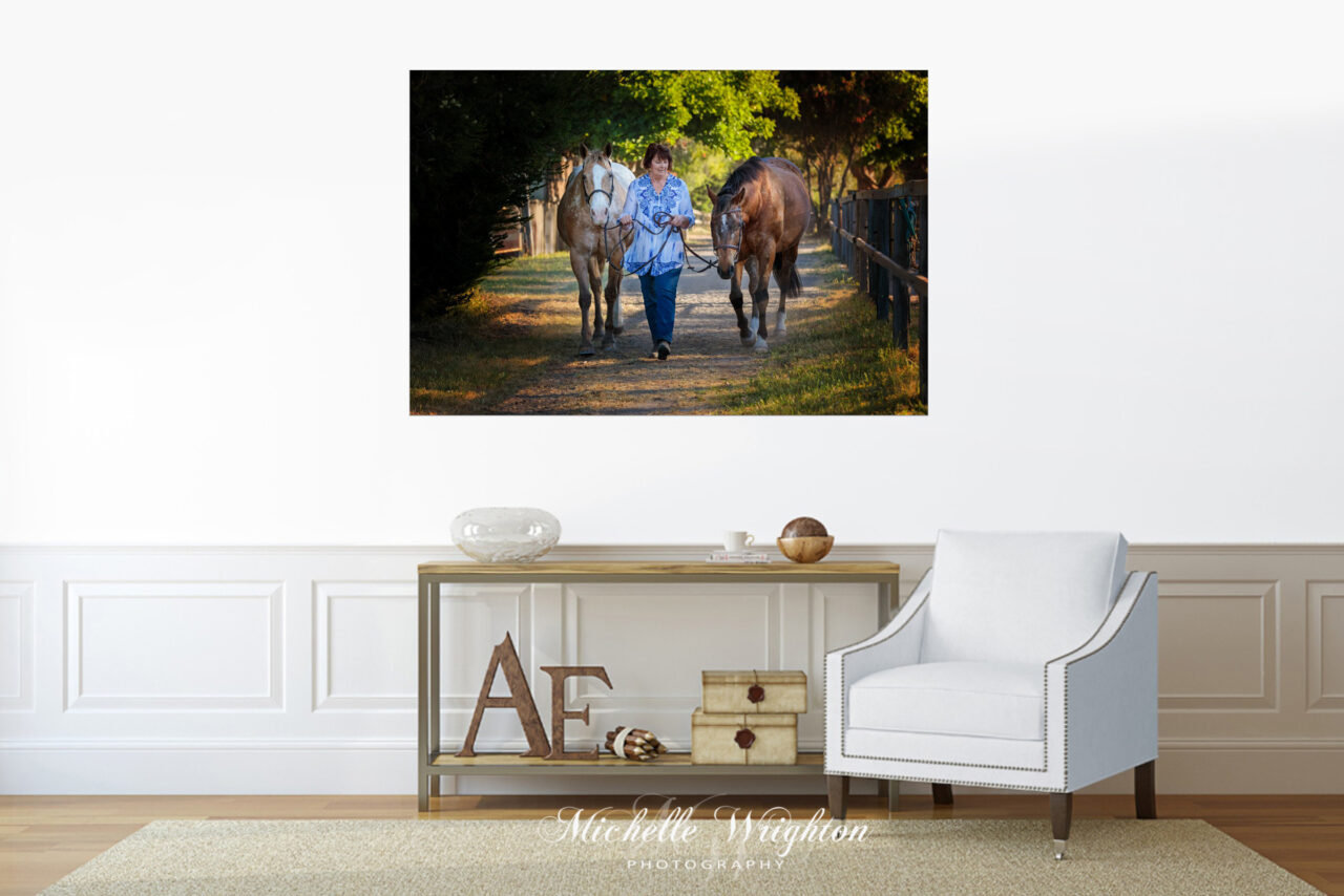 photograph of a woman walking two appaloosa horses down pathway on canvas home decor print