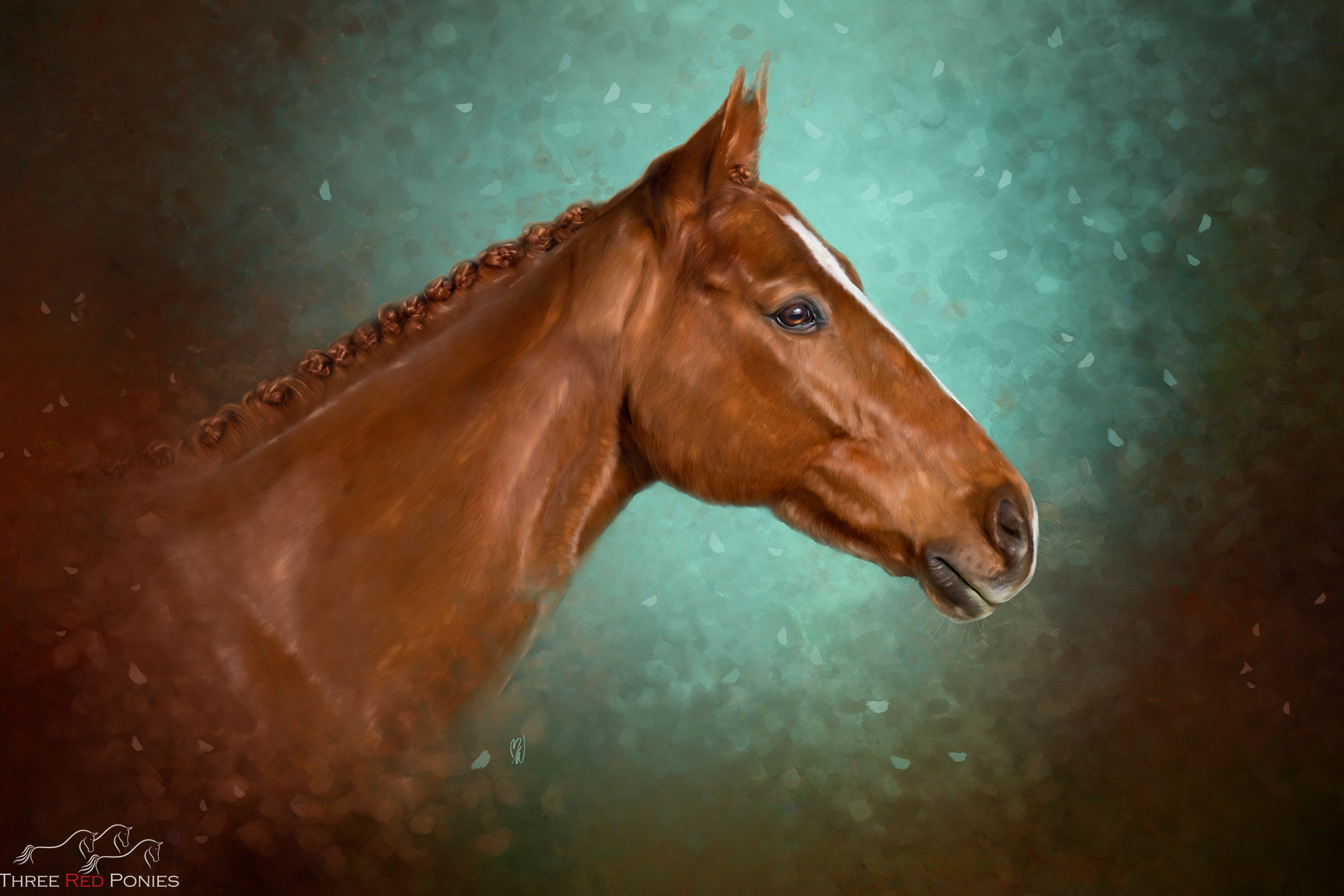 Custom painting of a chestnut thoroughbred horse on green background