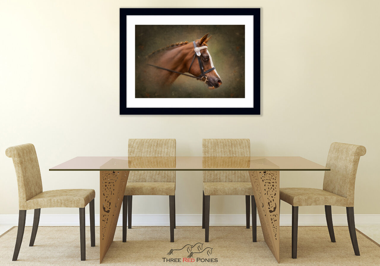 Framed Horse portrait painting home decor dining room