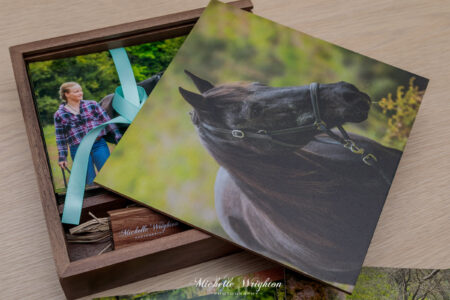 Black horse and girl photography wooden print box