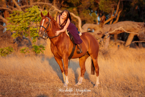 Lifestyle horse photograph with girl wearing ball gown riding chestnut horse